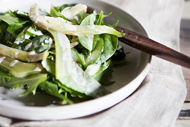 Recipe: Green Salad with Grilled Fennel & Ginger Skyr Dressing