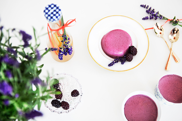 Blackberry Panna Cotta with Lavender Syrup