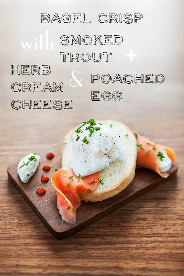 Weekend Breakfast - Toasted Bagel with smoked trout, herb cream cheese and a poached egg. Modern Wifestyle