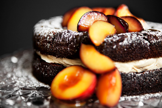 Chocolate Cake with Salted Caramel Frosting and Poached Plums - Recipe