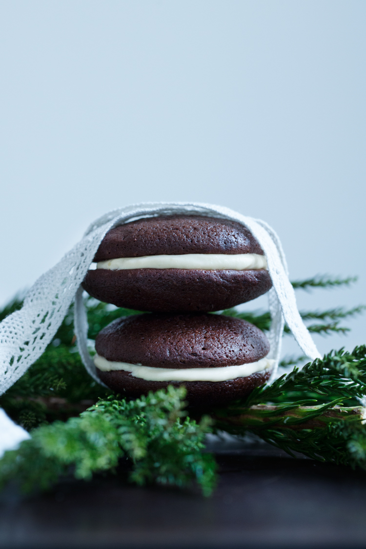 Chocolate Whoopie Pies with Rosemary Orange Custard