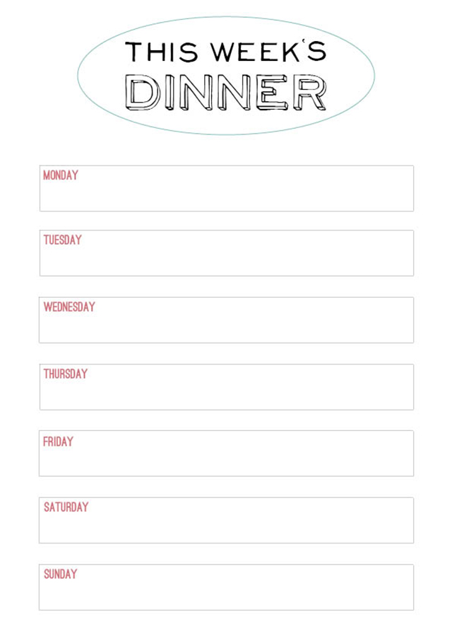 Printable Weekly Menu from Modern Wifestyle
