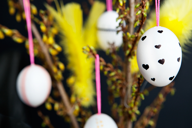 Easter Eggs decorated with Tape and Permanent Marker