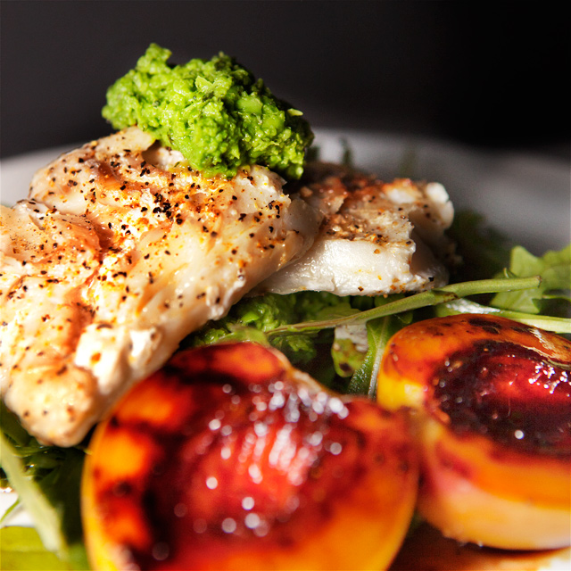 Fish with glazed Nectarines and Pea Purée