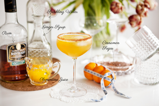 Ginger Rum with Clementine and Cinnamon Cocktail Recipe