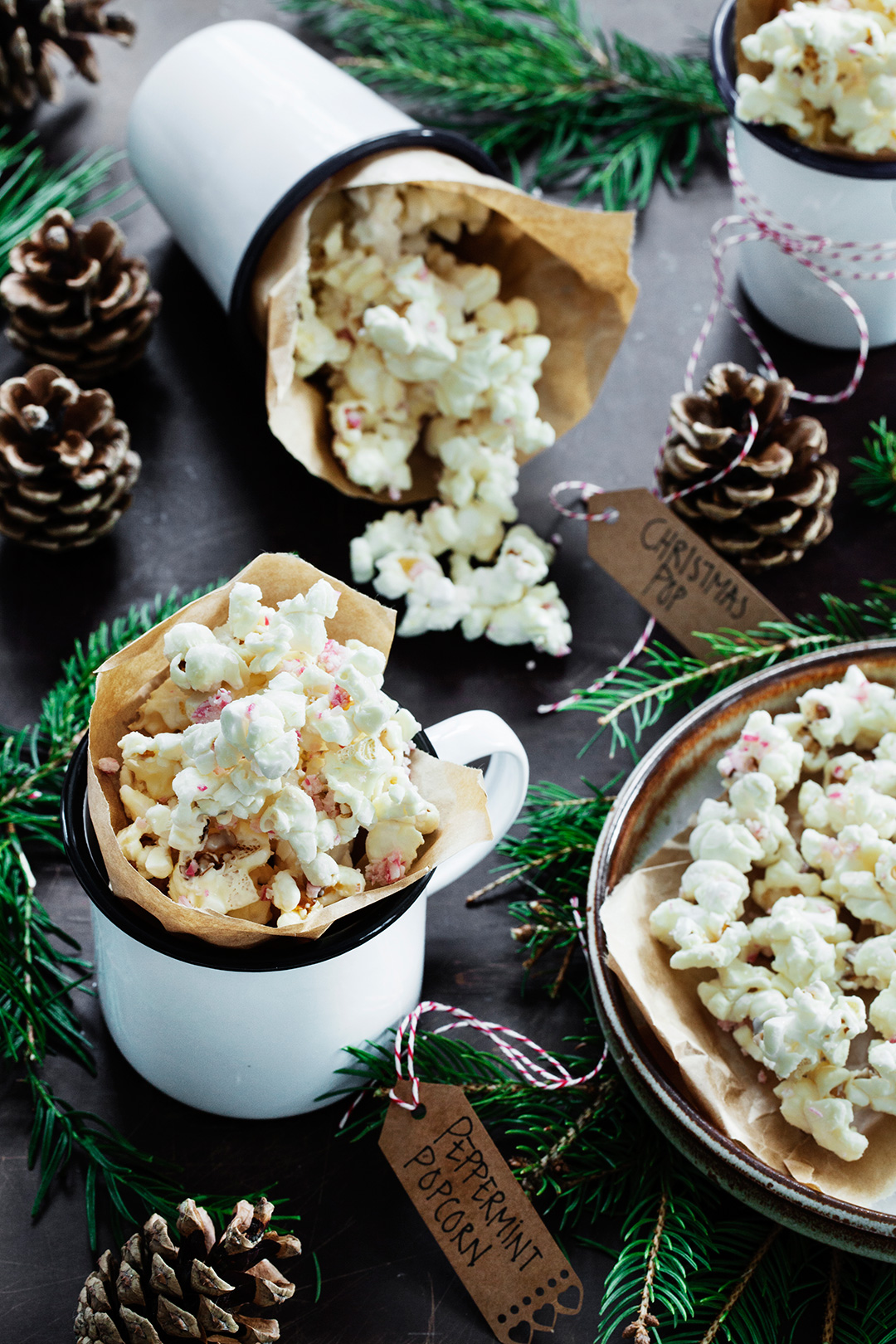 Holiday Peppermint Popcorn with Chocolate and Candy Cane.