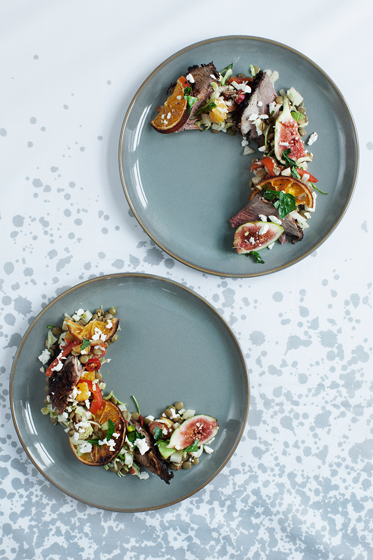 Lentil Salad Recipe with grilled citrus and figs