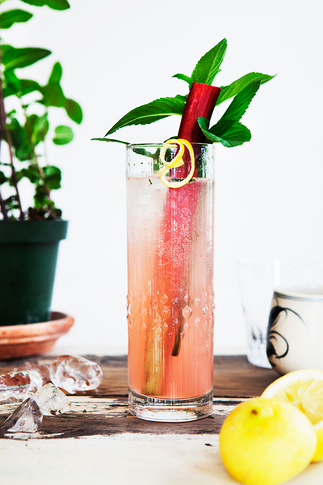 Friday Night   Cocktail Night : Rhubarb Collins