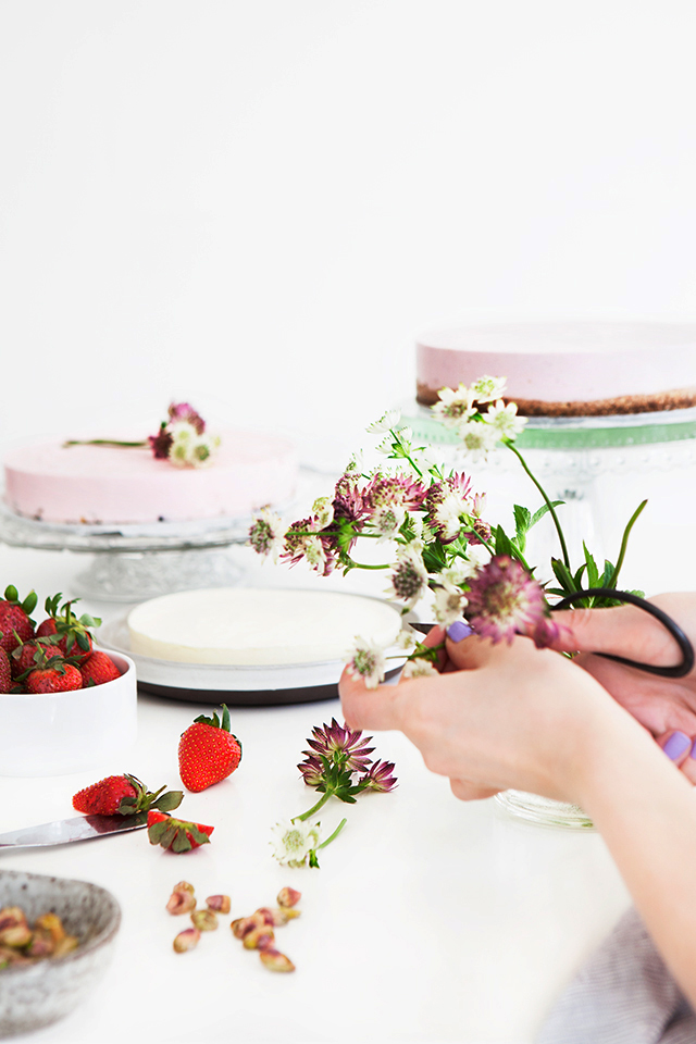 Icelandic Skyr Cake Decorated with Fresh Flowers